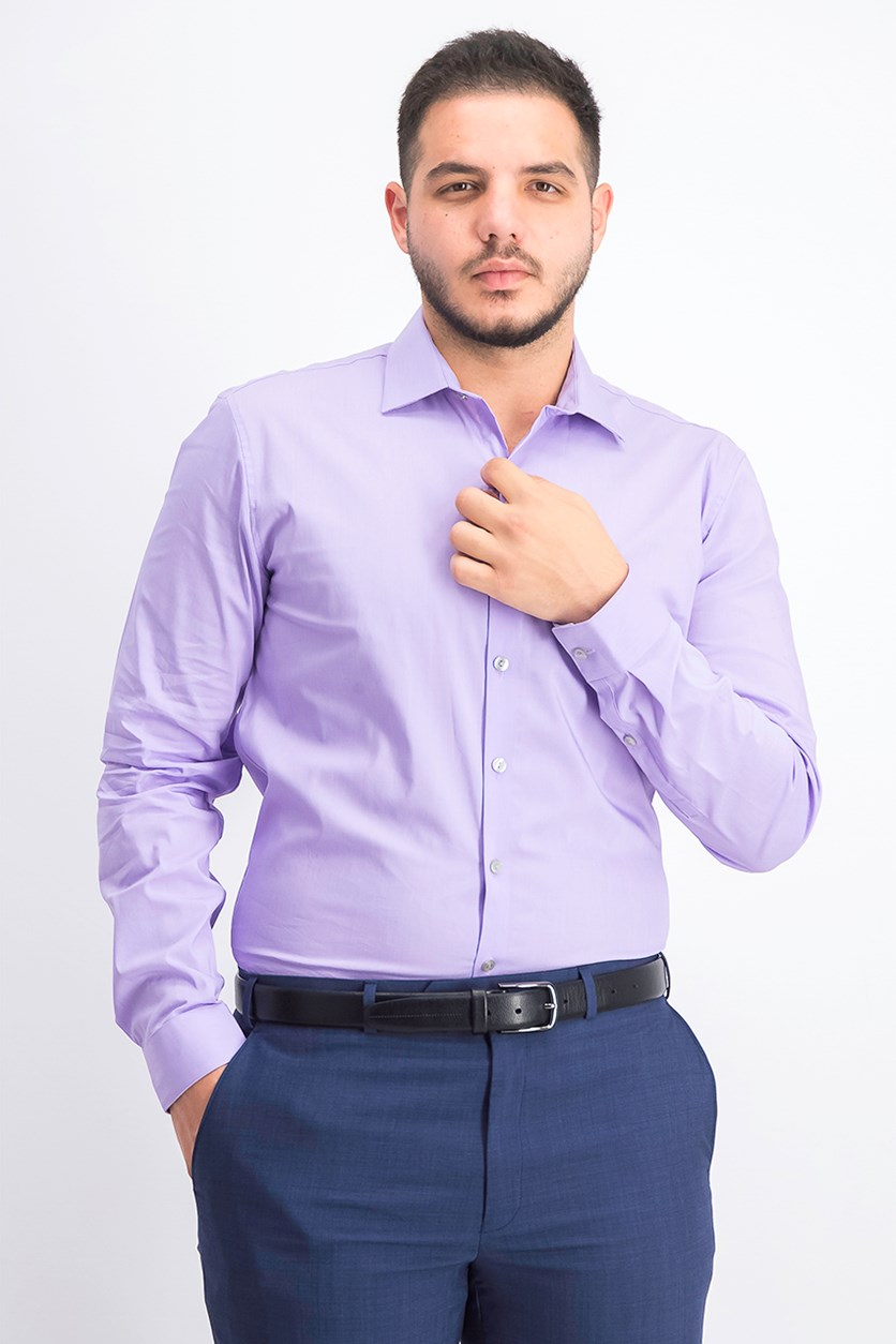 Mens Slim-Fit Techni-Cole Flex Collar Solid Dress Shirt, English Violet