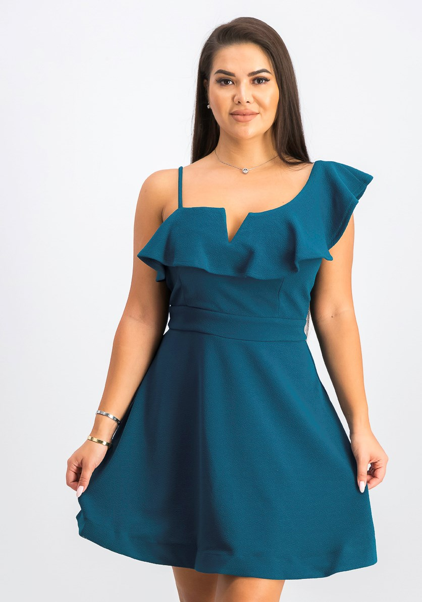 Juniors' Ruffled One-Shoulder Fit & Flare Dress, Teal