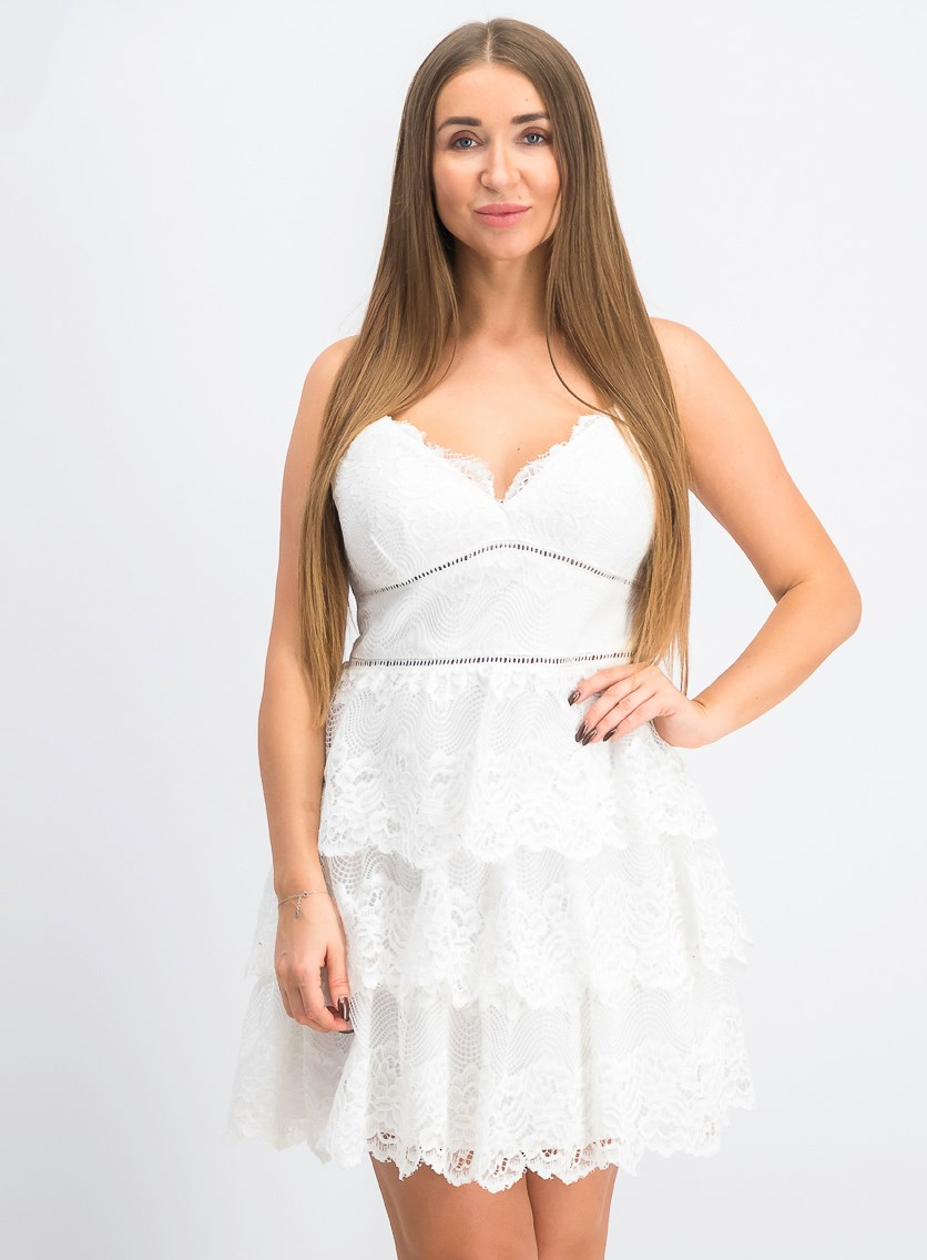 Juniors' Tiered Lace Fit & Flare Dress, White