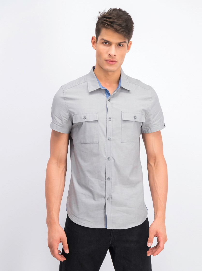 Men's Short Sleeves Casual Shirt, Grey