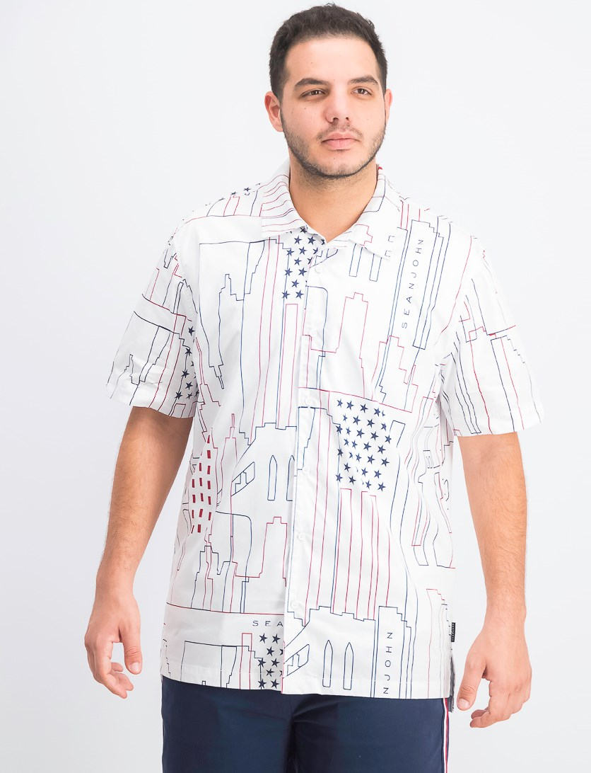 Men's Abstract Printed Shirt, Bright White Combo
