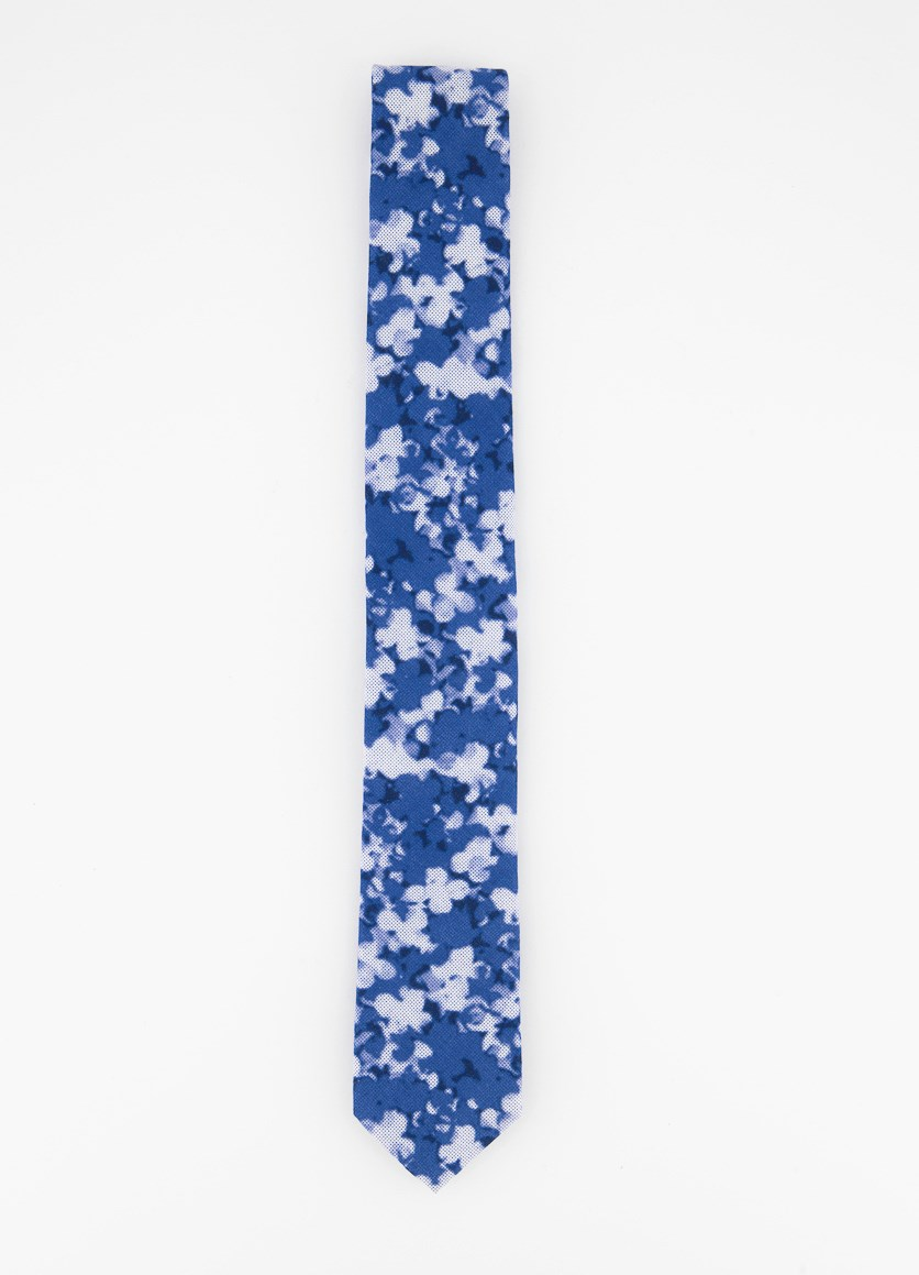 Men's Allover Print Tie, Blue/White