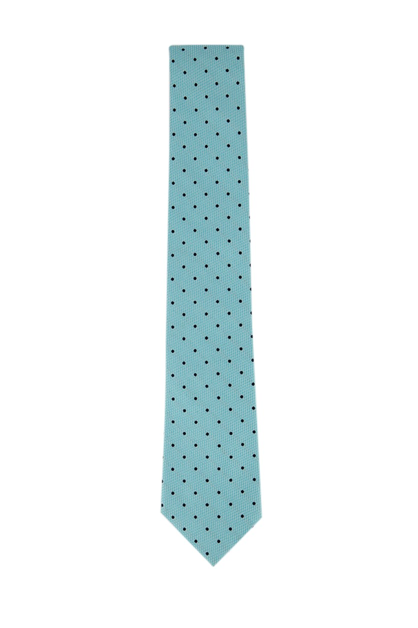 Mens Colorblock Polka Dots Tie, Turquoise/Navy
