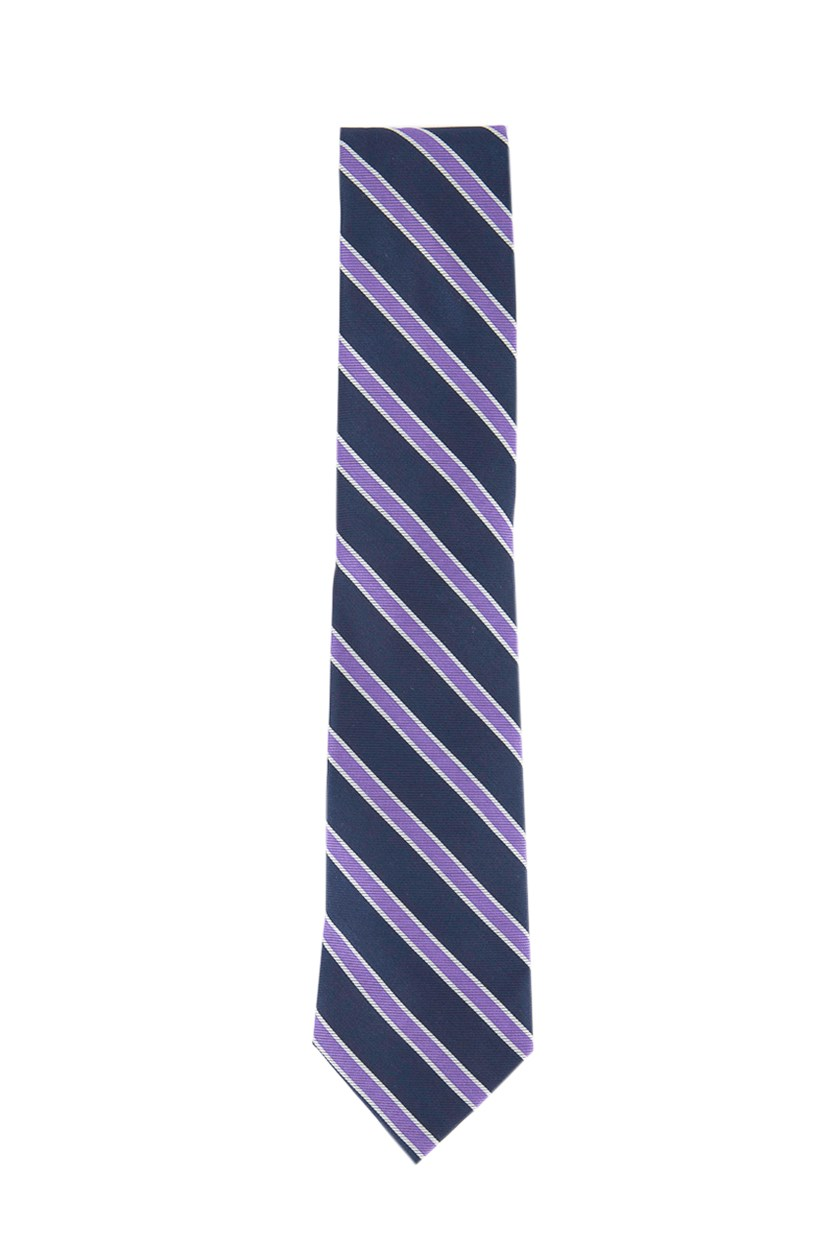 Men's Bedford Stripe Silk Tie, Navy Combo