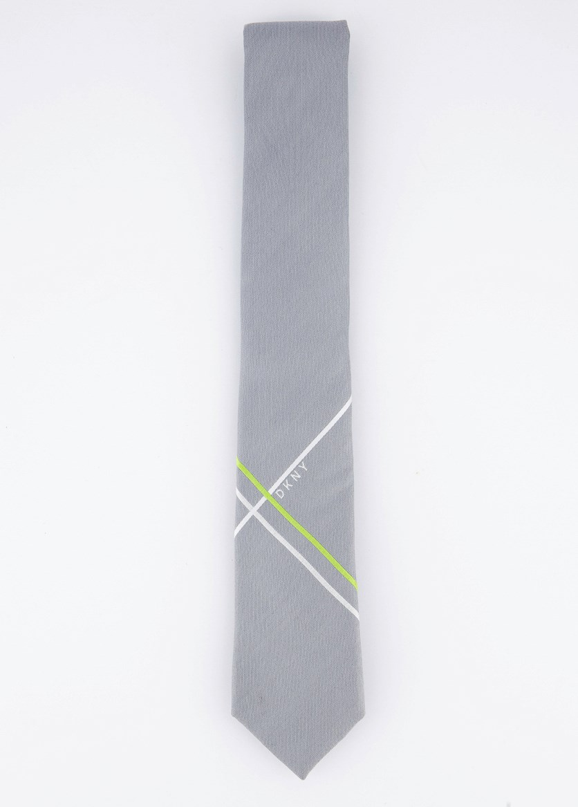 Mens Stripe Tie, Silver Gray