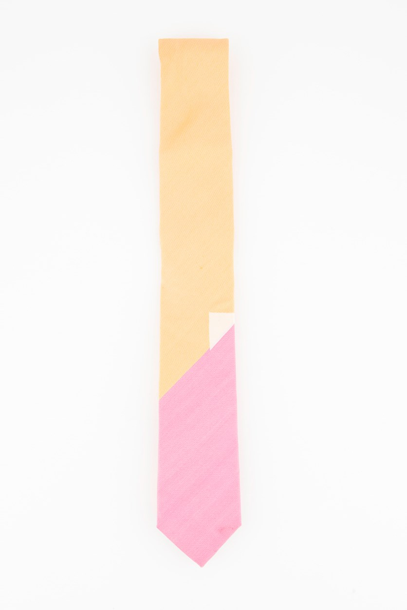 Mens Geo Block Panel Tie, Orange/Pink