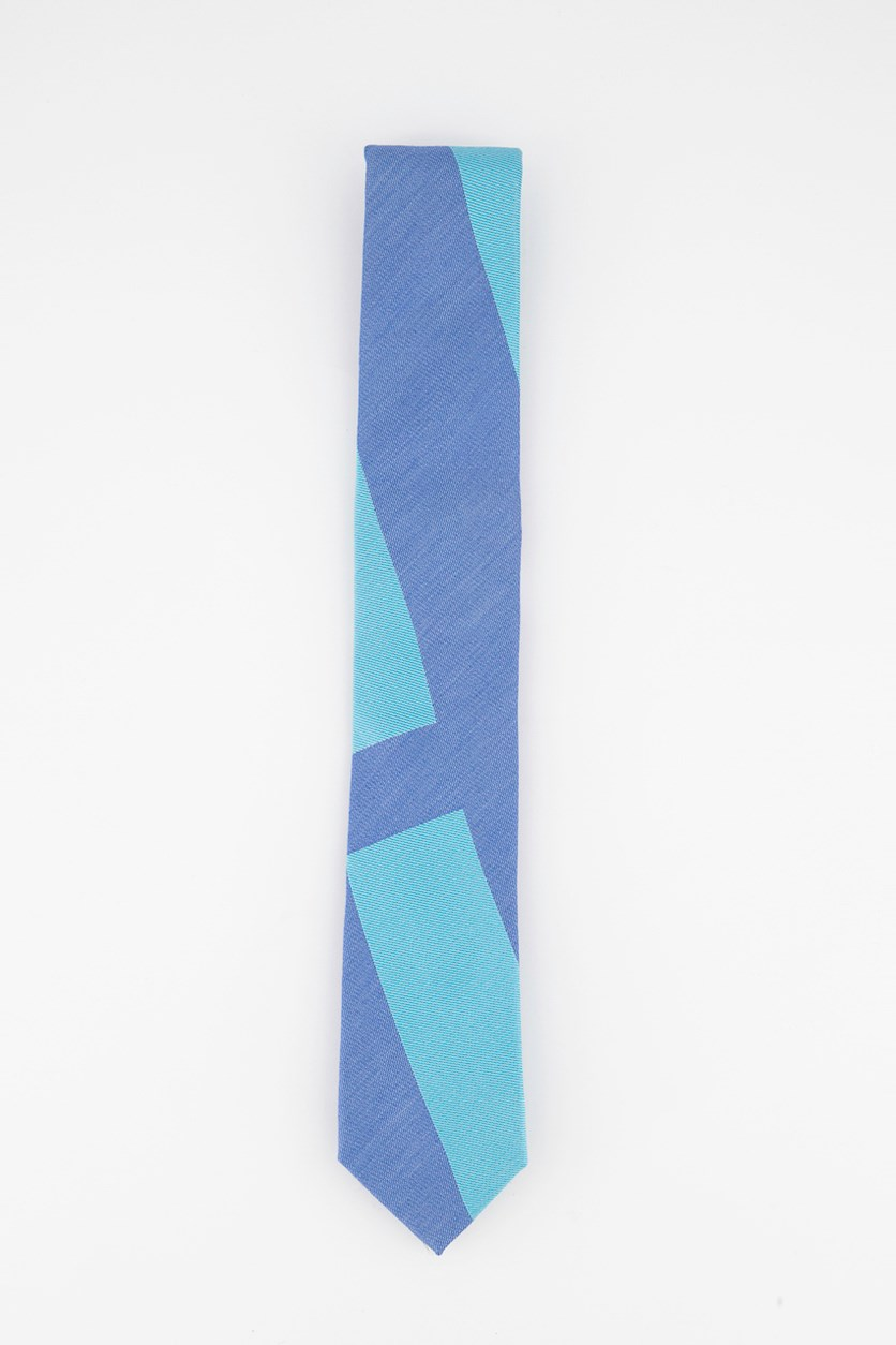 Mens Macro Block Panel Tie, Blue Combo