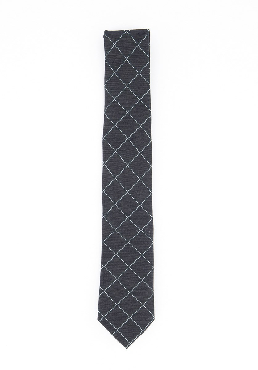 Men's Checkered Tie, Dark Green