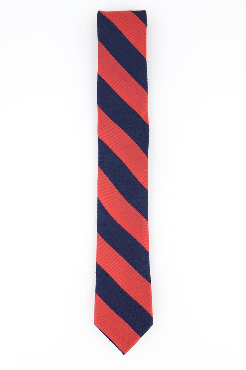 Men's Combo Texture Stripe Silk Neck Tie, Red/Navy
