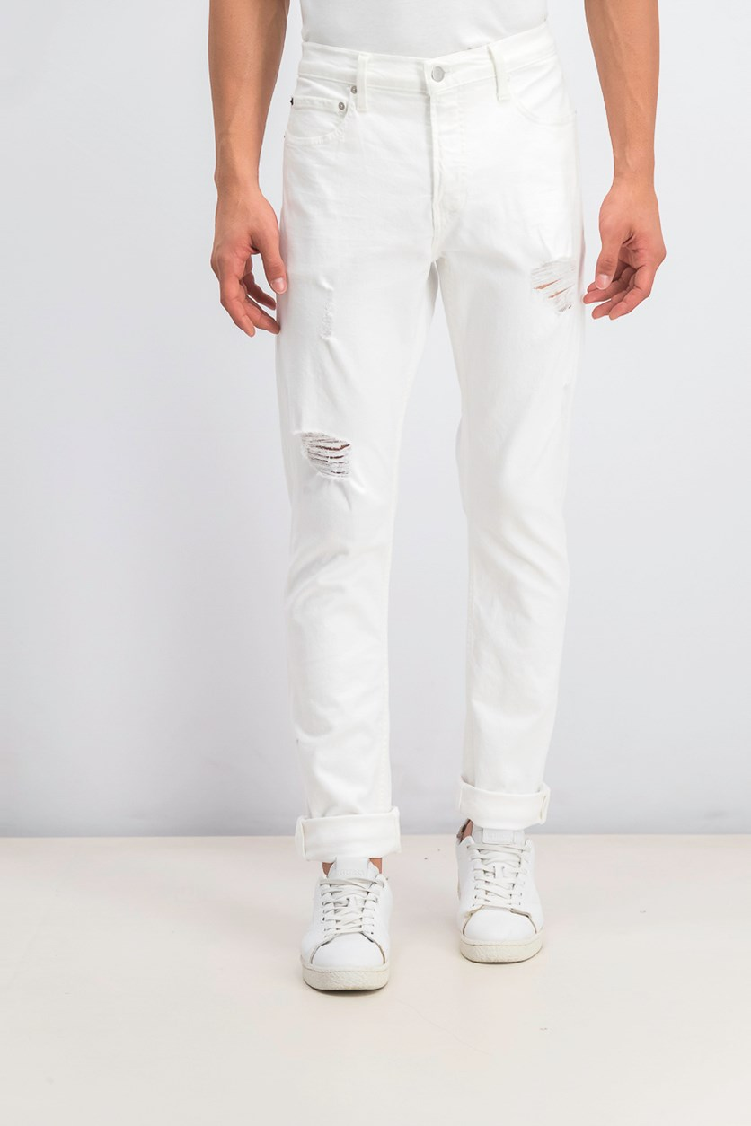 Men's Slim-Fit Ripped Jeans, White