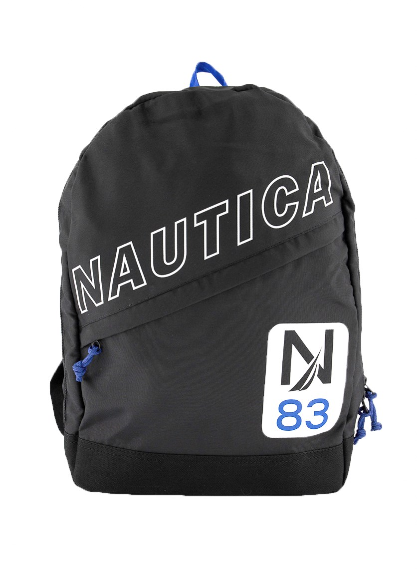 Diagional Zip Backpack, Black/Blue/White