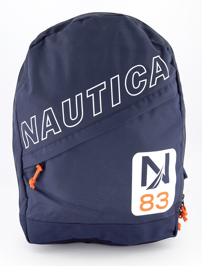 Diagonal Zip Backpack, Navy/Orange