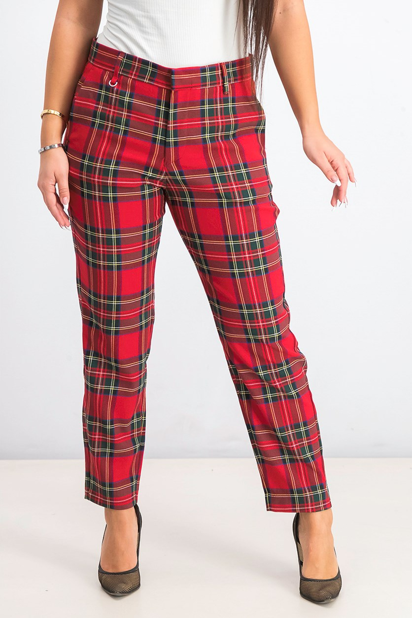 Women's Check Skinny Trousers Pants, Red Combo