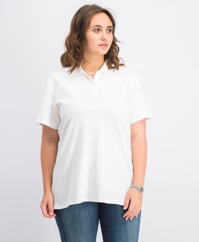 Women's Cotton Pique Polo Top, Bright White