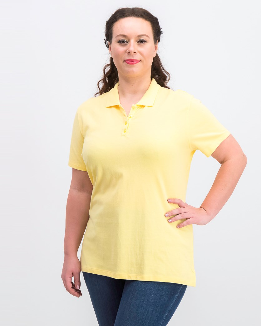 Women's Cotton Pique Polo Top, Citron Aura