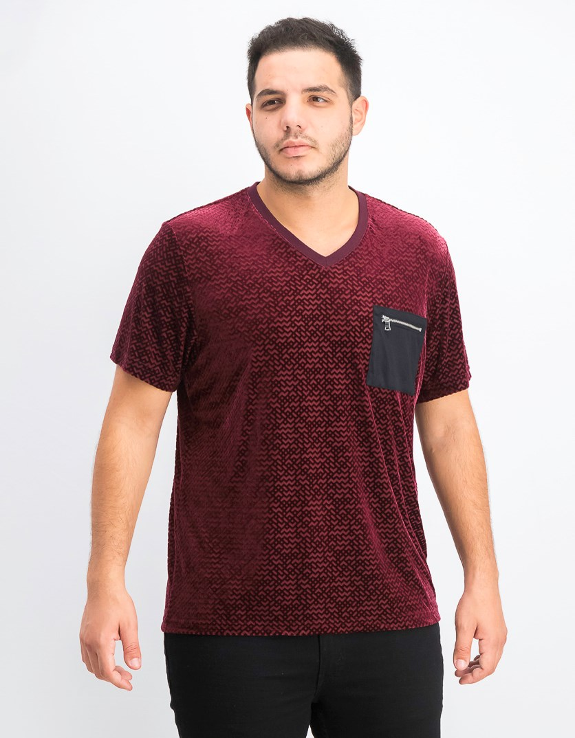 Men's Velvet Burnout Zip-Pocket T-Shirt, Port Royale