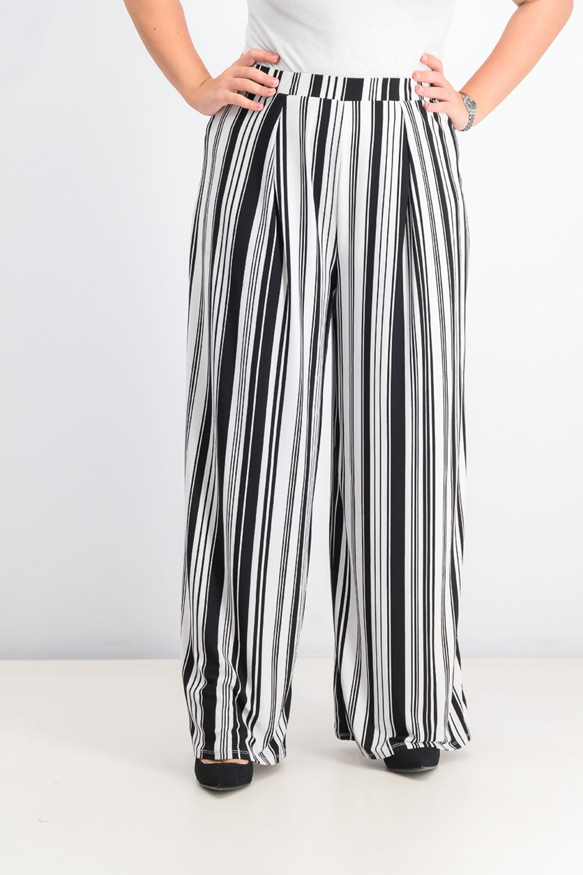 Women's Striped Pull-On Pants, Platinum Black