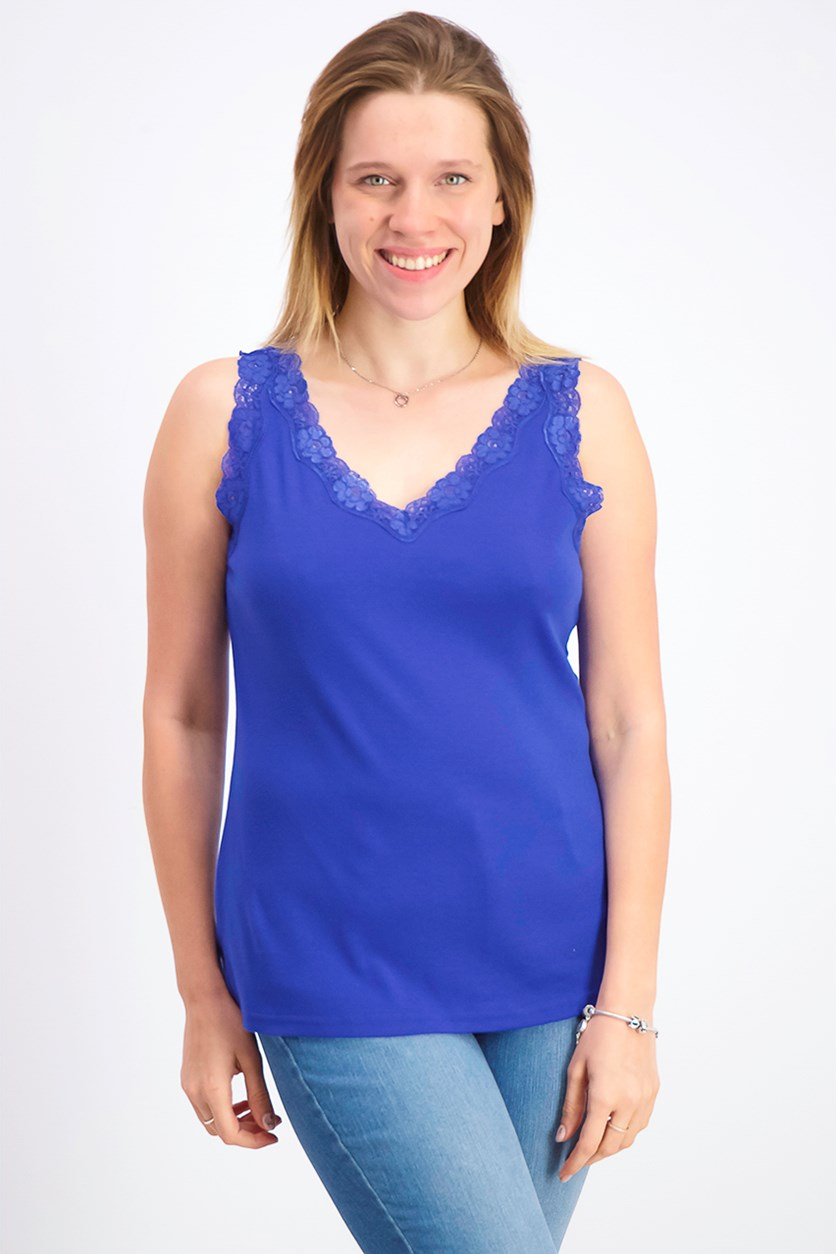 Women's Lace-Trim Tank Top, Ultra Blue