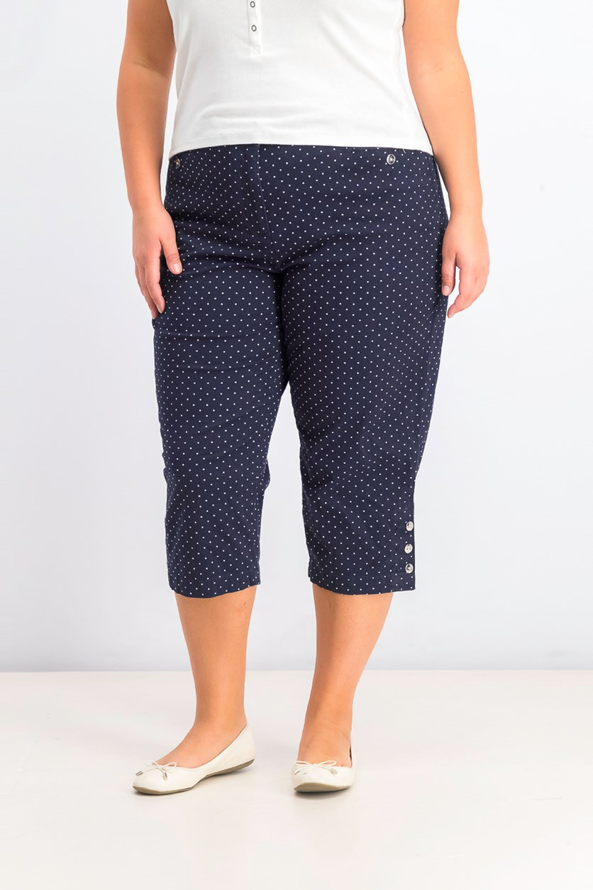 Women's Polka Dot Capri Pants, Navy Blue/White