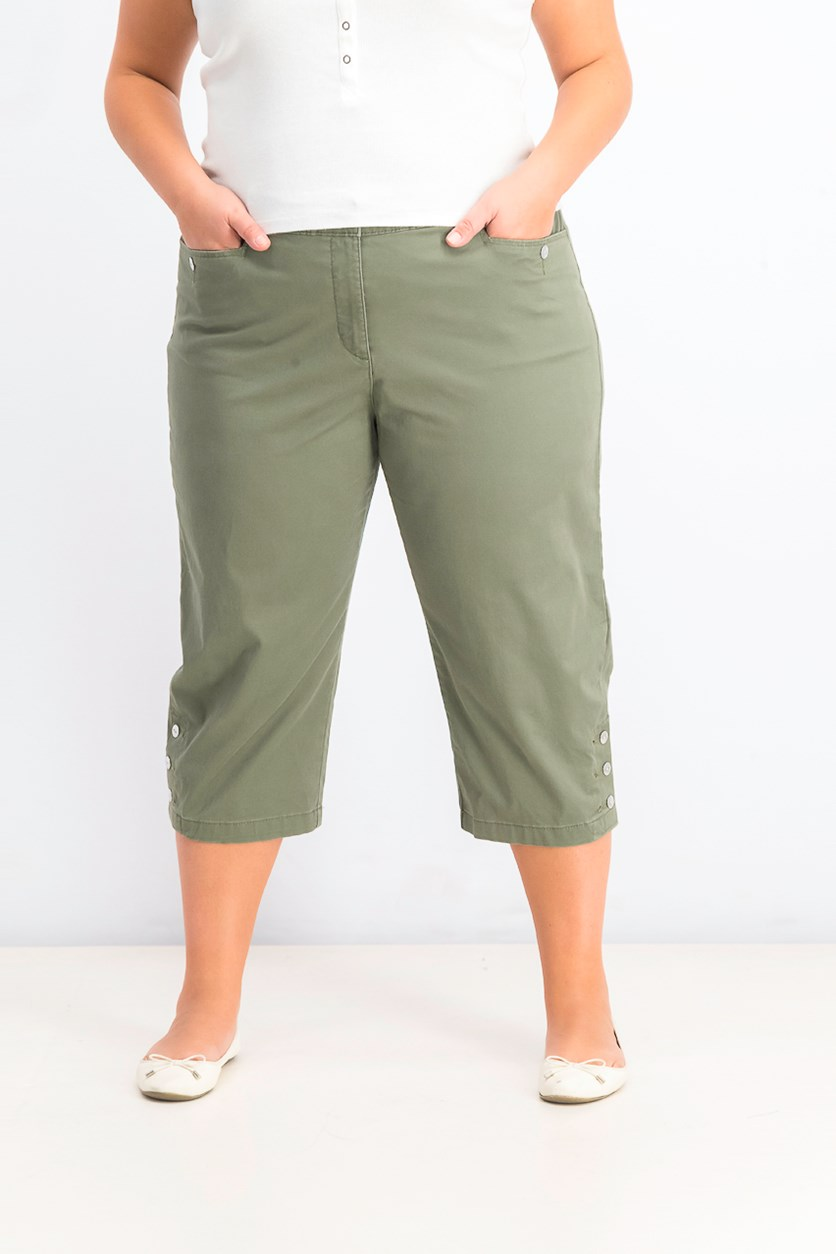 Women's Button-Hem Capri Pants, Olive Sprig
