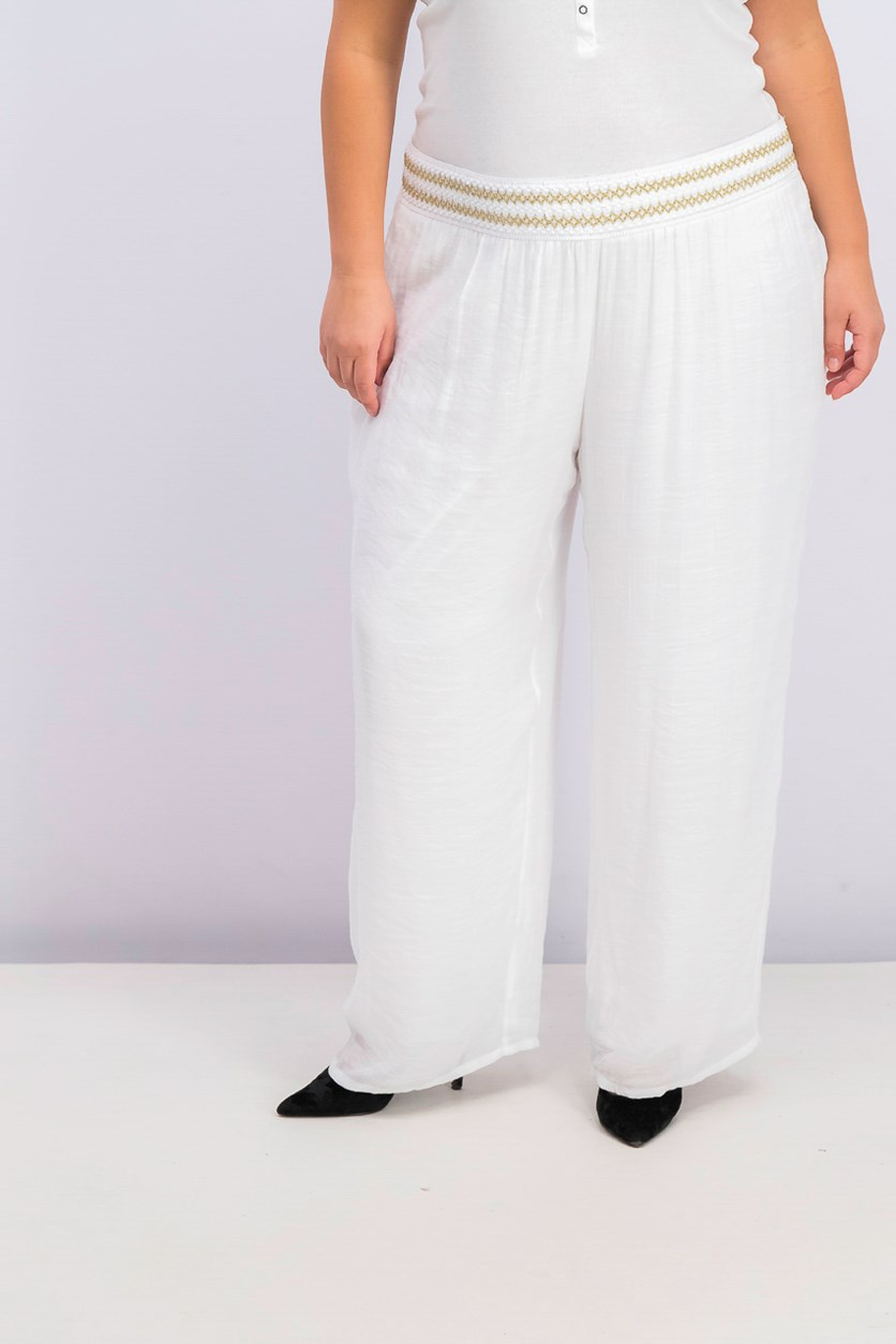 Plus Size Lined Gauze Pull-on Pants, White