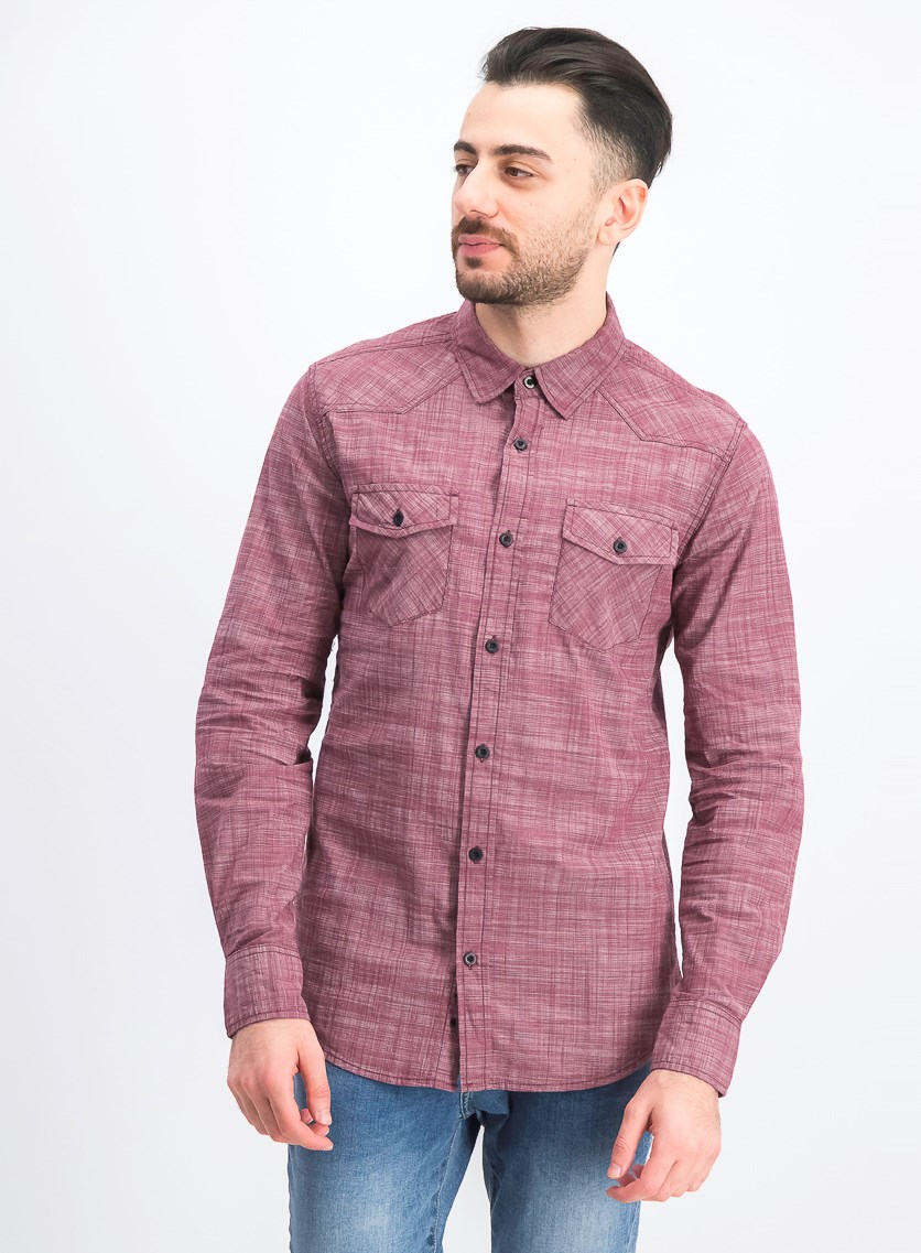 Men's Long-sleeve Geometric Stretch Fit Casual Shirt, Burgundy