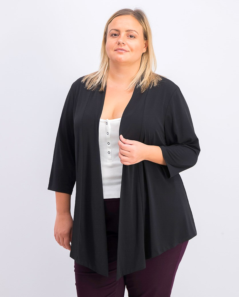 Womens Plus Drapey Open Front Cardigan Top, Black