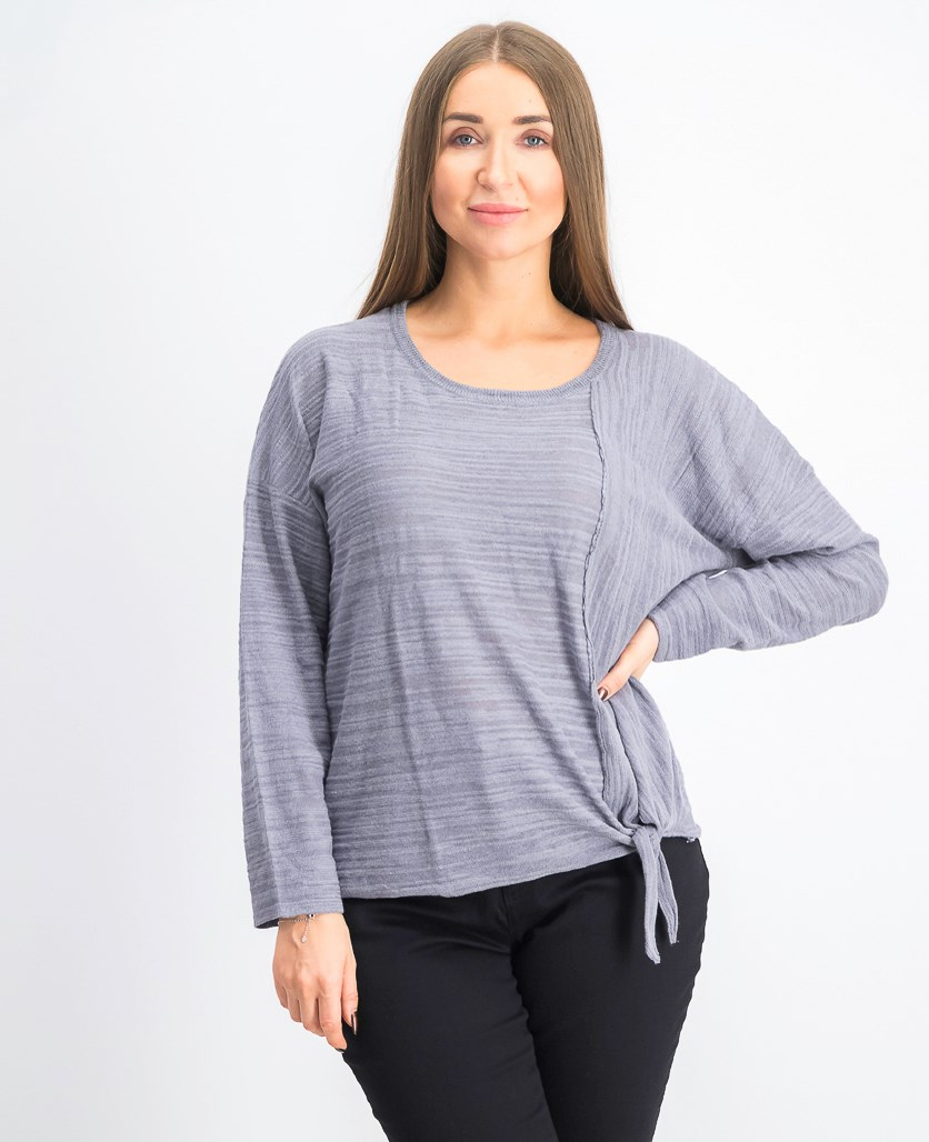Women's Knitted Long-Sleeve Tops, Grey