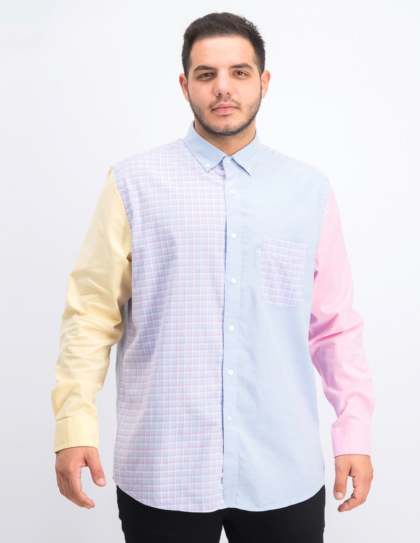 Men's Stretch Colorblocked Long-Sleeve Oxford Shirt, Pale Ink Blue