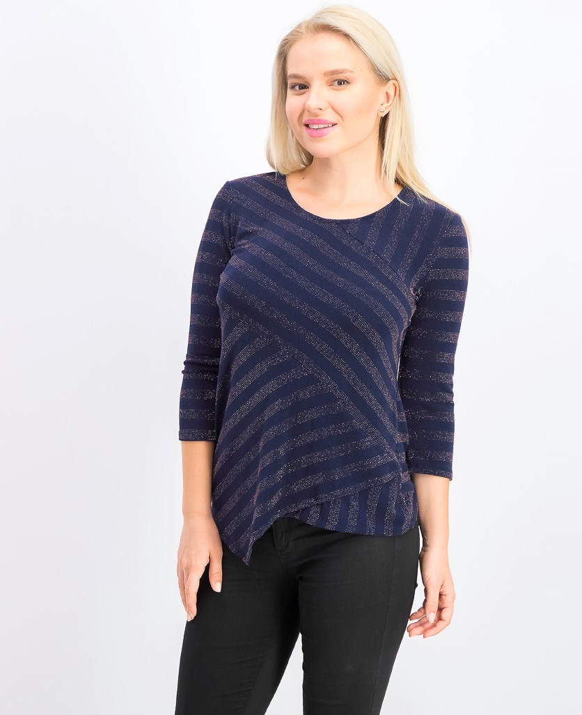 Womens Petite Shiny Striped Top, Intrepid Blue