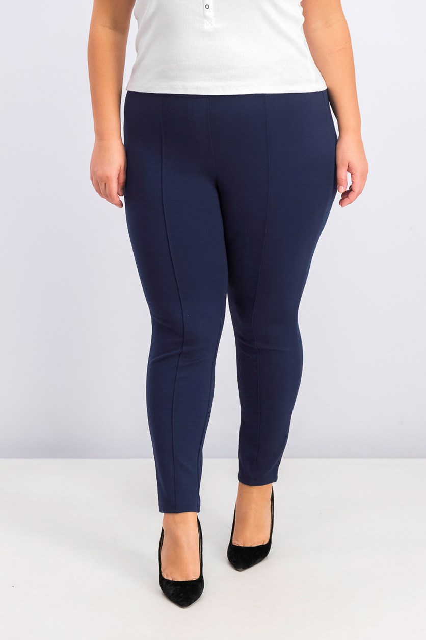 Plus Size Seamed Leggings, Industrial Blue