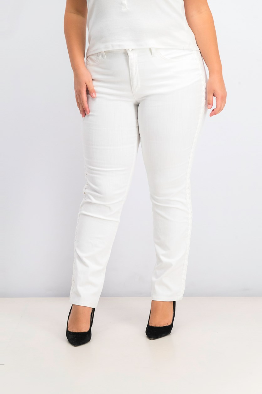 Women's Straight-Leg Braid-Stripe Jeans, White Wash