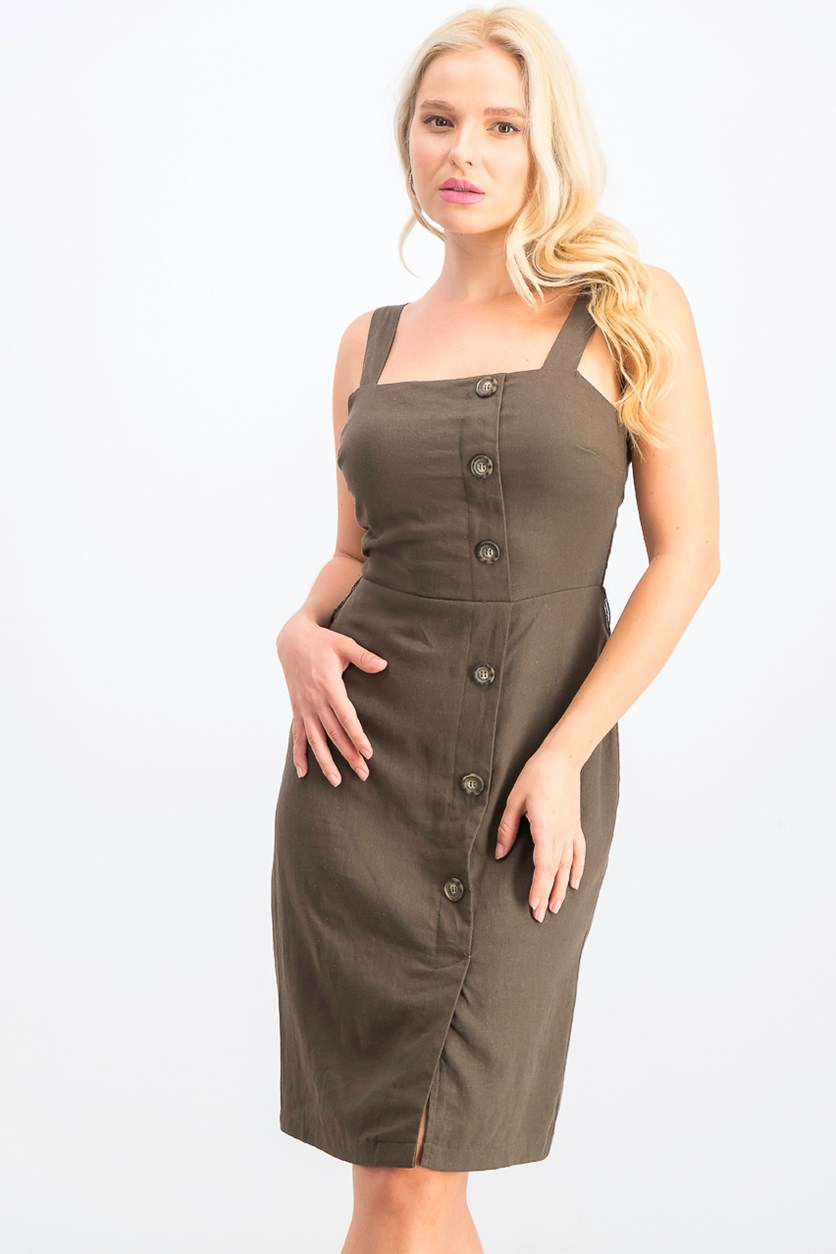 Women's Juniors' Belted A-Line Dress, Olive