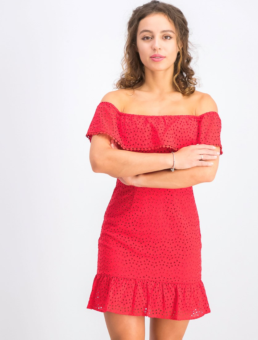 Juniors' Off-the-Shoulder Eyelet Dress, Red