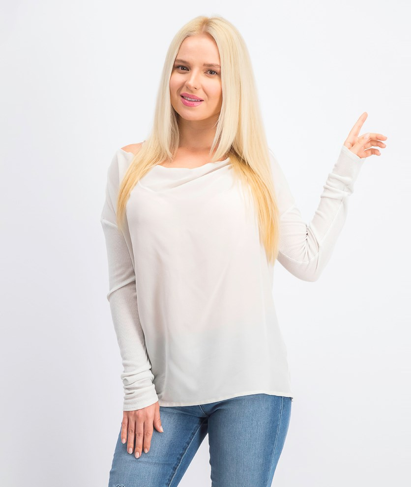 Women's Silk Long-sleeve Pullover Tops, Milk