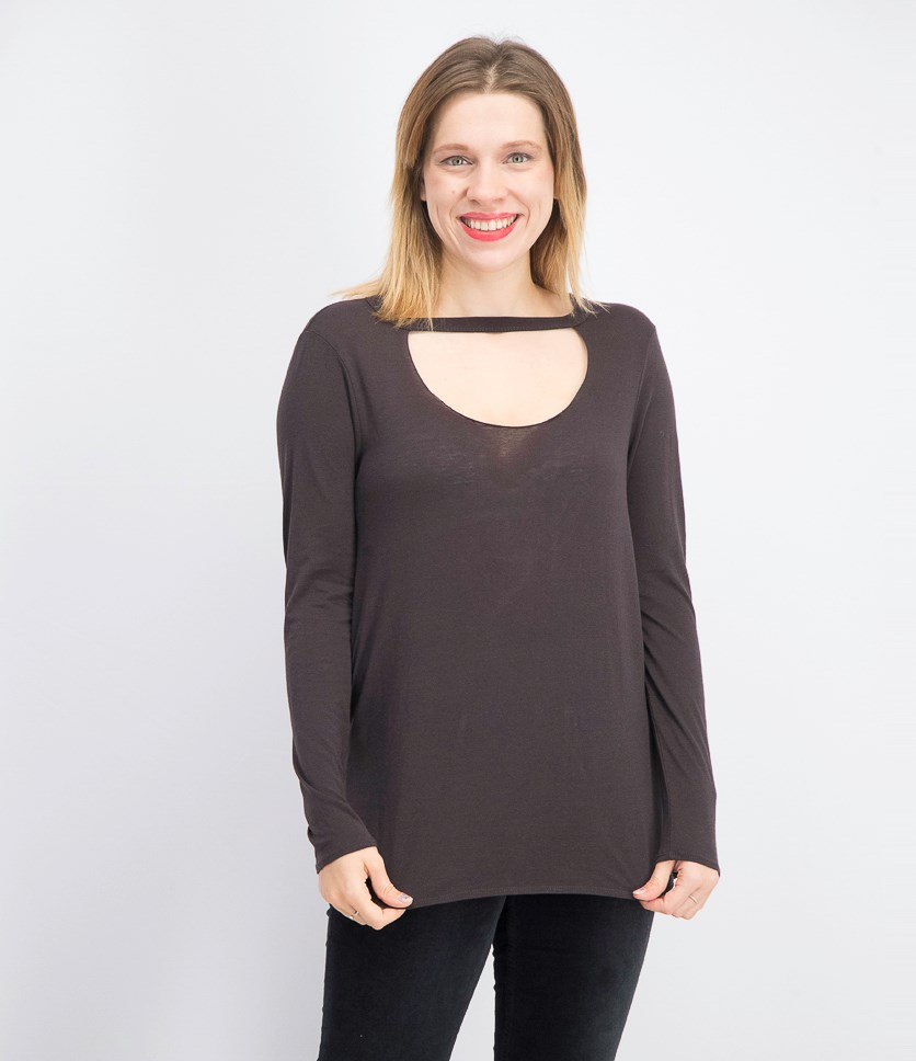 Women's Front Hole Long-sleeve Pullover Tops, Union Black