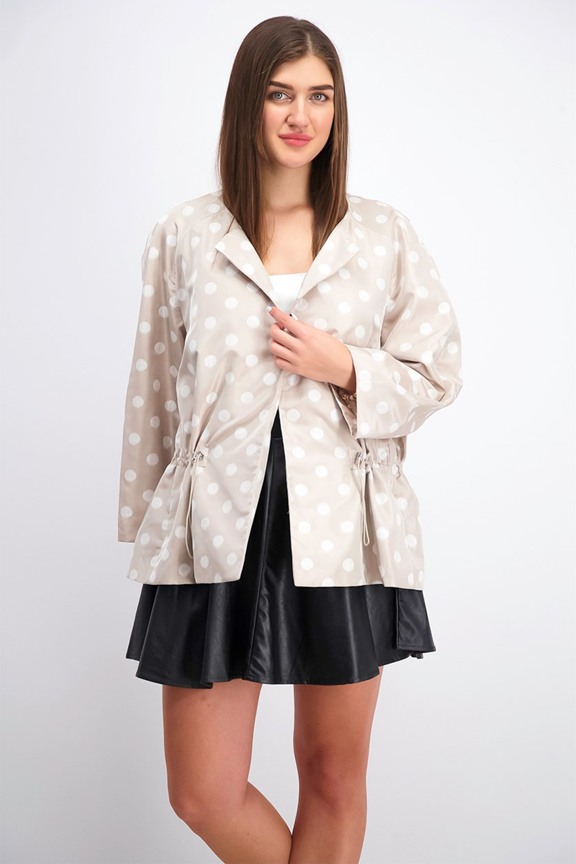Women's Printed Drawstring Open-Front Blazer, Oyster Shell/White