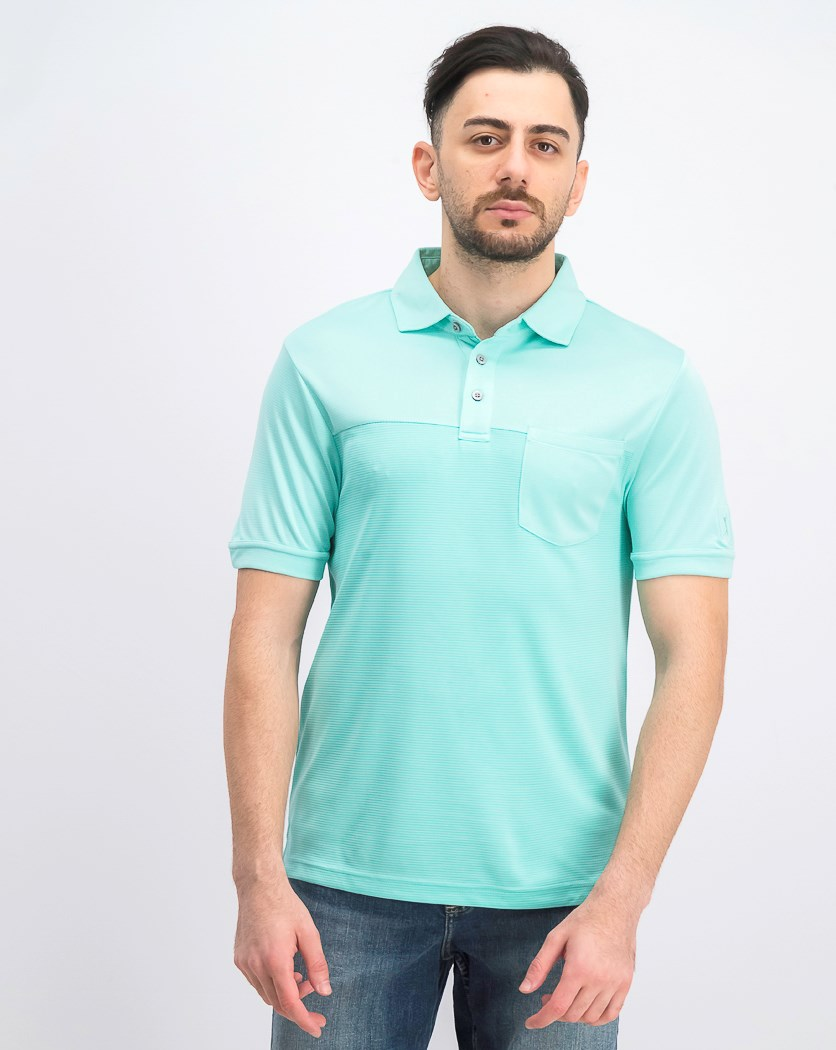 Men's Textured Pocket Polo, Light Aruba Heather