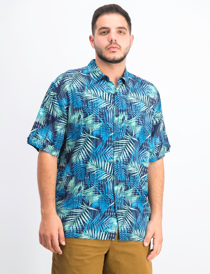 Men's Regular-Fit Tropical-Print Shirt, Navy Blazer