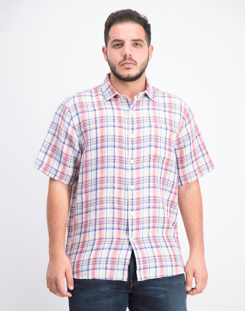 Men's Plaid Short Sleeves Shirt, Light Havana