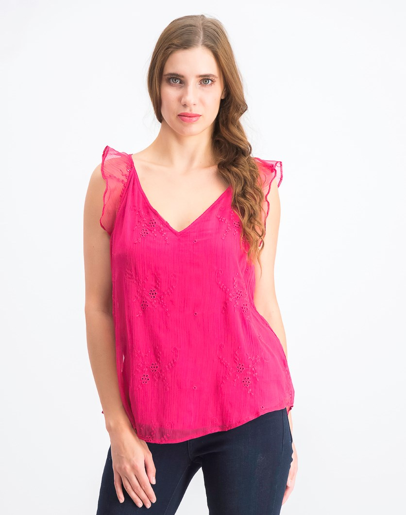 Women's Embroidered Yoryu Flutter Shoulder Blouse, Wild Hibiscus