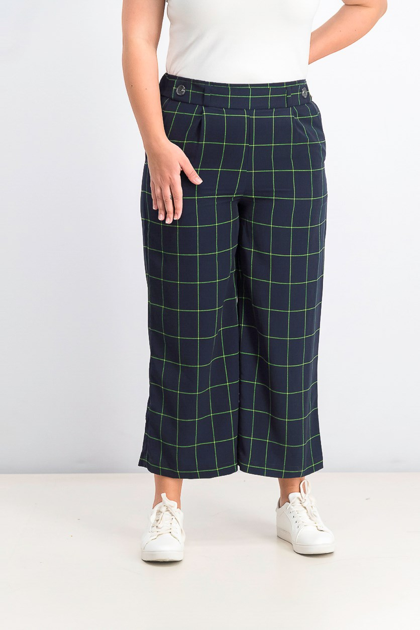 Wide Leg Printed Windowpane Capri Pants, Caviar