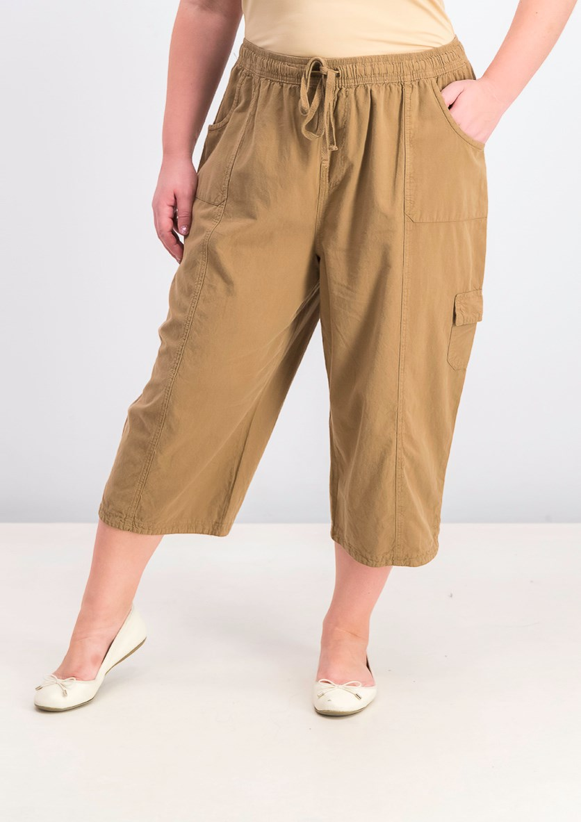 Women's Cotton Cropped Pant, Portobello/Brown