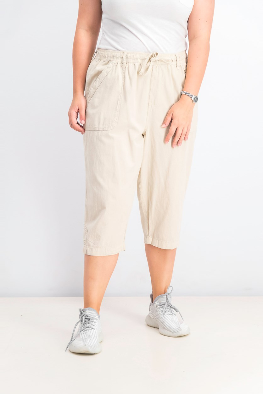 Women's Petite Cotton Eyelet Chino Skimmer Shorts, Stonewall