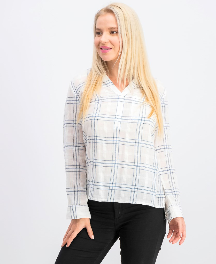 Women's Petite Cotton Textured Roll-Tab Top, Deck Plaid White