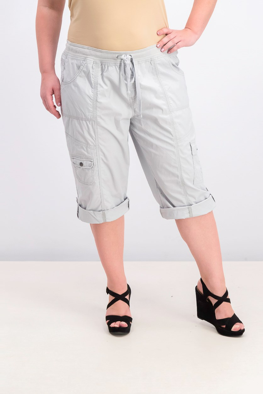 Women's Drawstring Cargo Shorts, Misty Harbor