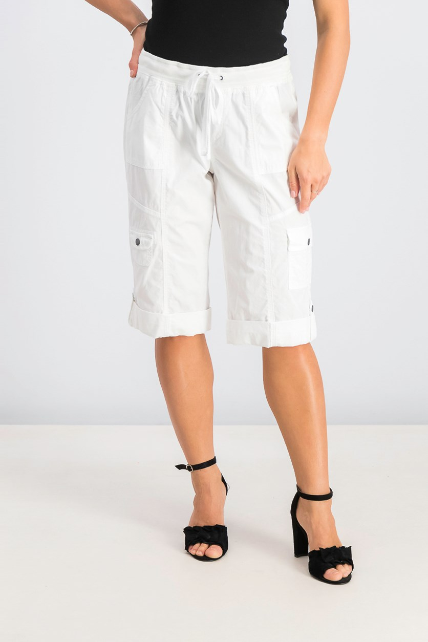 Womens Drawstring Cargo Shorts, Bright White