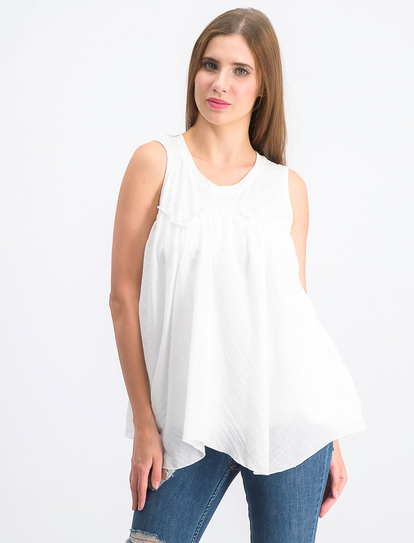 Women's Handkerchief-Hem Top, Bright White