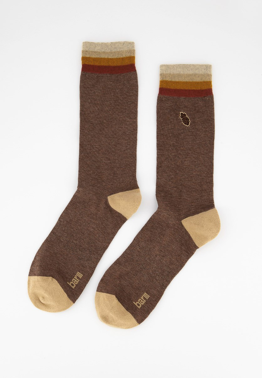 Men's Embroidered Pine-Cone Socks, Brown