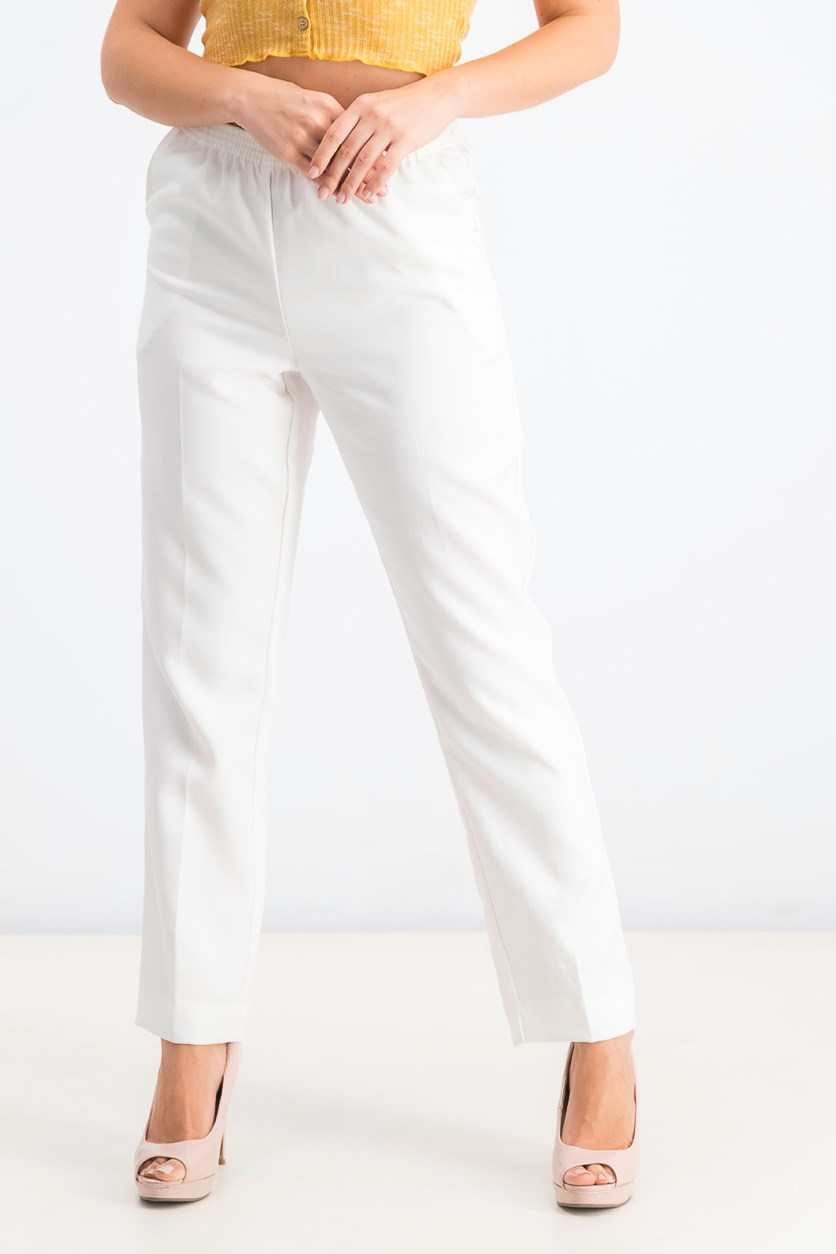 Women's Petite Pull-on Pants, Bright White